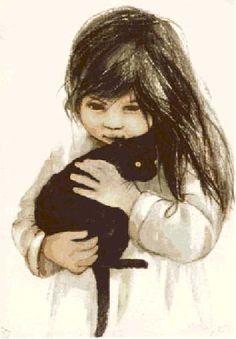 Cat Art, Art Girl, Diy And Crafts, Nostalgia, Art Gallery, Kids, Image, Black Cats, Painting