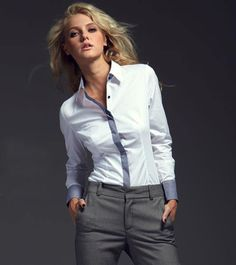 Women white long sleeve shirt office lady plaid blouse