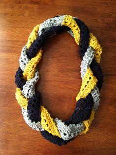 WVU Braided Infinity Scarf by LizbethsDesigns on Etsy, $25.00