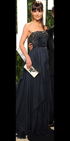 Katie Holmes at The Vanity Fair Oscars After Party 2012: A pleated navy Elie Saab stunner, Lanvin clutch and two of the night's big trends: heavy bangs and a ponytail.