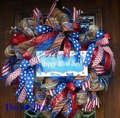 HAPPY FOURTH of JULY Wreath on Striped Burlap with by decoglitz