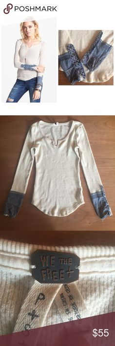 Free People Thermal • Brand new without tags • size small • no rips, tears, pulls, or stains • off-white/creme color • lace and buttons on the cuffs Free People Tops Tees - Long Sleeve