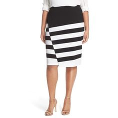 BB Dakota 'Tula' Stripe Faux Wrap Skirt ($88) ❤ liked on Polyvore featuring plus size women's fashion, plus size clothing, plus size skirts, black, plus size, striped skirt, black faux skirt, asymmetrical skirt and black knee length skirt