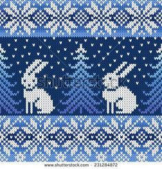 with penguins instead of the rabbits?seamless knitted pattern with snowflakes and rabbits Fair Isle Knitting Patterns, Fair Isle Pattern, Knitting Charts, Knitting Stitches, Knitting Designs, Free Knitting, Knitting Projects, Crochet Patterns, Knitting Ideas