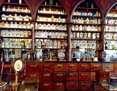 The Apothecary, the original drugstore. Herbs have always been used as medicine. We have many of our modern remedies because of the herbalists of bygone days.