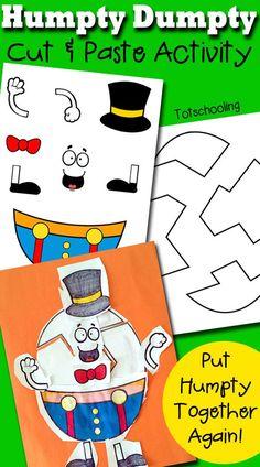 Humpty Dumpty Printable Cut & Paste Activity Rhyming Preschool, Rhyming Activities, Preschool Themes, Craft Activities, Toddler Activities, Preschool Activities, Cutting Activities For Kids, Preschool Education, Preschool Art
