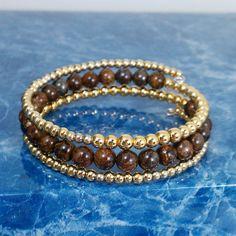 Brown Jasper and Gold Memory Wire Bracelet. $23.00, via Etsy.
