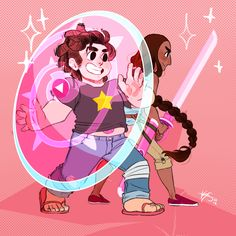 Power Couple~✨ I'M SO EXCITED FOR CONNIE TO LEARN TO SWORD FIGHT SO SHE CAN FIGHT ALONGSIDE STEVEN IN BATTLEEEAlso they're aged up here, I couldn't settle on a specific age, but I imagine somewhere between 17-20?? Maybe?????? 12 year olds ain't got no business going into battle.