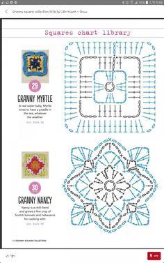 from Granny square collection 2016 Motifs Granny Square, Granny Square Projects, Granny Square Crochet Pattern, Crochet Diagram, Crochet Squares, Crochet Chart, Granny Squares, Crochet Motif Patterns, Crochet Blocks