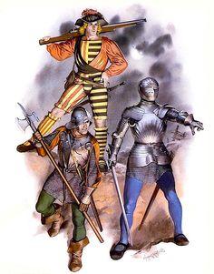 • Handgunner, c. 1500 • Infantryman, c. 1500 • German knight, c. 1500