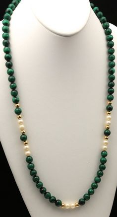 Vintage Malachite Pearl & 14k Yellow Gold by HouseofVintageOnline