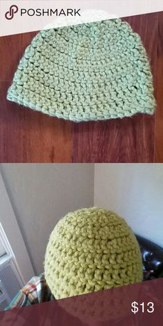 Key lime hand knit beanie Home crafted cozy hand knit beanie worn once. Has a few small fuzzies, would come off with a sweater stone. Fits a larger head. Color true to second photo. Accessories Hats