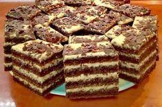 Ingrediente: Ingrediente pt blat: 8 ouă 250 grame zahăr 120 grame făină 1 plic de praf de copt 70 de grame de griș 55 de grame de cacao 150 ml. lapte 100 ml. ulei vegetal 100 grame unt cu 80% grăsime 2 plicuri de zahăr vanilat 1 praf de sare Ingrediente pt crema de marscarpone … Sweets Recipes, No Bake Desserts, Easy Desserts, Cookie Recipes, Delicious Desserts, Almond Cookies, Yummy Cookies, Chocolate Biscuit Cake, Romanian Food