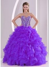 Classical Purple Ball Gown With Sweetheart Ruffles and Beading Lace Up For Quinceanera Dresses