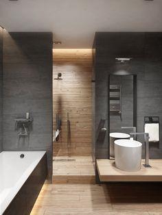 Fotoğraf (With images) Grey Bathroom Tiles, Modern Bathroom Decor, Chic Bathrooms, Modern Bathroom Design, Bathroom Interior Design, Small Bathroom, Bad Inspiration, Bathroom Inspiration, Minimalist Living