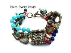 Nepal bronze, Gemstone, metal, Czech glass knotted cording bracelet. McKee Jewelry Designs