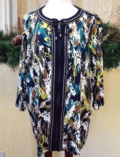 CJ Banks Abstract Zip Front Knit Jacket 3X Multi Casual Wear w/Slacks Jeans Plus #CJBanks #FullZipKnitJacket
