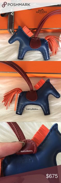 """Auth Hermes Rodeo Horse Bag Charm PM Blue/Orange 100% Auth Hermes rodeo horse charm PM. Bleu Malte/Orange Poppy/Rouge H. Hard to find size and color combo. Buttery soft Milo lambskin leather. Used twice as bag charm. In Excellent condition with some light creasing. Comes with box, ribbon and tag. Made in France. Measures at approx. 3.25"""" x 3"""" H. Strap drop approx. 6.5"""". Super cute! Add'l pics avail to serious buyer. Sorry no trade! Hermes Accessories"""