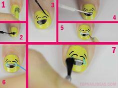 Happy tears emoji nail art