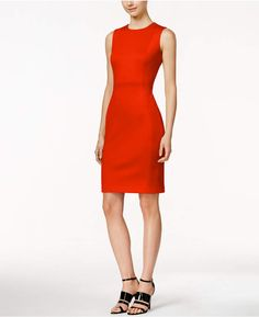 0d2fd8d4bb70 Calvin Klein Petite Scuba Crepe Sheath Dress Coral Colored Dresses, Yellow  Dress, Blue Dresses