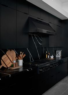 Kitchen countertop colors - Tour a Dramatic Black Kitchen Designed by Bobby Berk – Kitchen countertop colors Home Room Design, Dream Home Design, Black Kitchens, Home Kitchens, Küchen Design, Layout Design, Design Ideas, Kitchen Interior, Kitchen Decor