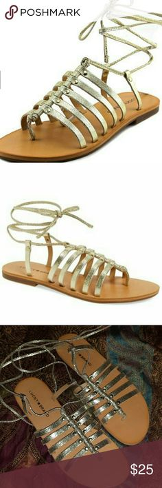 LUCKY BRAND Gladiator Sandals ?PRICE FIRM?  Cute gold Lucky Brand lace up gladiator sandals in size 9.  Brand New. NO BOX Shoes Sandals