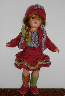 "Model Used-Toni Doll Pattern includes: Skirt, Sweater, Top, Stormy Kromer Style Hat, Shoes and Socks for 14"" ""child style""doll Size-waist 6 ¾+/- (elastic), hips 7¼"" chest 7 ¾"" neck 5"" inseam 5 ¼"" a..."