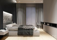 Black Gray bedroom - black and gray bedroom 1 Bedroom Apartment, Apartment Interior, Home Interior, Home Bedroom, Interior Design, Apartment Layout, Apartment Living, Black And Grey Bedroom, Gray Bedroom