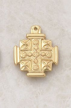 """22kt. Gold over Sterling Silver, Gold Jerusalem Cross Medal with 18"""" Chain, 13/16"""" H CR001 http://www.amazon.com/dp/B0074Q2BNC/ref=cm_sw_r_pi_dp_5eSewb0JD51ND"""