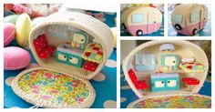 What an adorable Vintage Caravan with Kitchen Sink, Curtains and Cosy Bed. If you are inspired to make your own, here is Crochet Mini Caravan Free Pattern.