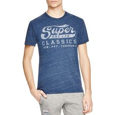 Superdry Classics Tee ($42) ❤ liked on Polyvore featuring men's fashion, men's clothing, men's shirts, men's t-shirts, french navy, old navy mens t shirts, old navy mens shirts and mens knit shirts