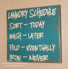 Laundry Schedule Laundry Room Decor Laundry Sign by DeenasDesign