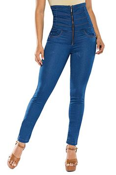 275aff3cd4f9b0 Curvify Super High Waisted Butt Lift Skinny Jeans Tummy Control - Cintura  Alta at Amazon Women's Jeans store