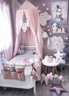 Little girls room - Girl's Clothes - Kinderzimmer Baby Bedroom, Baby Room Decor, Nursery Room, Girl Nursery, Bedroom Decor, Bedroom Ideas, Canopy Bedroom, Comfy Bedroom, Room Baby