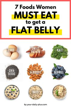 7 Foods You MUST Eat If You Want A Flat Belly. Get a flat stomach by filling your plate with more of these healthy and nutritious foods. Weight Loss Tips Diet Plans To Lose Weight Fast, Low Carb Diet Plan, Healthy Food To Lose Weight, Good Foods To Eat, Healthy Foods To Eat, Diet Foods, Paleo Diet, Healthy Eats, Ketogenic Diet