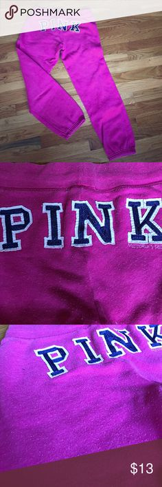 Victoria's Secret PINK sweat pants size S Victoria's Secret PINK capris-style sweat pants. Size Small. Super cute! Worn, can see signs of wear in fabric (some little cotton balls). Not noticeable. Overall in great condition (no torn or holes). Have been in stored in pet-free and smoke-free home! I've outgrown them... hope you like them! PINK Victoria's Secret Pants Ankle & Cropped