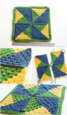 Crochet Afghans Design Make a crochet pinwheel afghan square! via - Three colors of yarn and a few simple stitches make up this geometric pinwheel afghan square. Motifs Granny Square, Crochet Motifs, Crochet Quilt, Crochet Blocks, Granny Square Crochet Pattern, Afghan Crochet Patterns, Crochet Squares, Crochet Stitches, Free Crochet