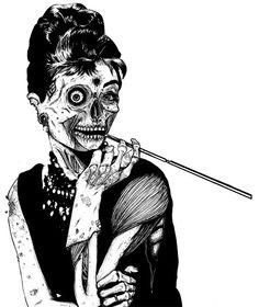 Zombified Audrey Hepburn illustration and more art inspirations at skullspiration.com