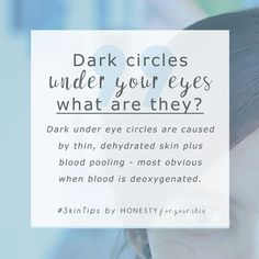 Oh dark under eye circles go away why won't you? Dark under eye circles look most obvious when you're tired because your skin gets dehydrated more quickly and your blood lacks oxygen. Skincare which helps get rid of dark under eye circles hydrates Beauty Care, Beauty Skin, Beauty Tips, Beauty Hacks, Beauty Quotes, Beauty Ideas, Beauty Secrets, Diy Beauty, Skin Secrets