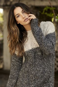 Donnata Cable Knit from Velvet by Graham & Spencer #lilyaldridge #cableknit