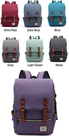 0ae4f936b220 Vintage Travel Backpack Leisure Canvas With Leather Backpack School Bag  only  33.99