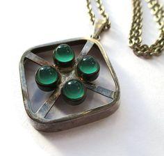 SOLD. Vintage Kultaseppa Salovaara green chrysoprase and sterling silver pendant and chain, modernist Finnish design, Scandinavian silver. https://www.etsy.com/listing/265821463/vintage-kultaseppa-salovaara-green