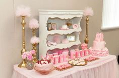 Stunning dessert table at a pink and gold ballerina birthday party! See more party planning ideas at CatchMyParty.com!