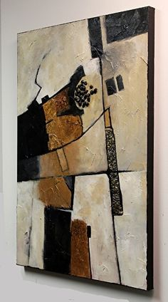 Carol Nelson - Work Zoom: Deliberation 071915 This painting is purely a nonrepresentational abstract focusing on strong values and design. There are a few textural elements in the form of rocks and tyvek. Also a subtle touch of metal leaf.
