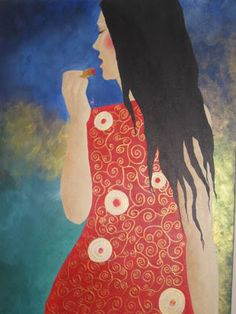 "A painting I did my senior year of high school, based on Gustav Klimt's style, ""Vixen"" #painting #art #artwork"