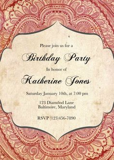 Adult Birthday invitation printable by CupidDesigns on Etsy, $20.00
