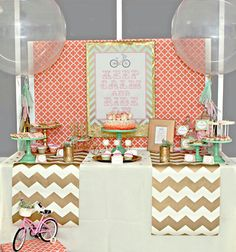 Love the color scheme for a girl baby shower...coral, gold, and mint!