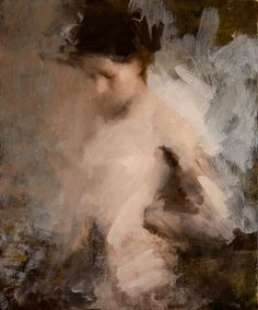 Artist: Mark Tennant {contemporary figurative #expressionist discreet nude female woman torso smudged texture painting} <3 Décolletage tastefully done !! marktennantart.com