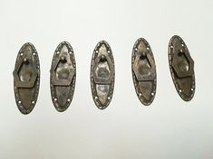 Set of 5 vintage antique italian handles furniture. Old metal brass knobs. From Italy. Rustic industrial style