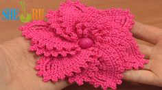 12-Petal Crocheted Spiral Flower Tutorial 69 Flower to Crochet  http://sheruknitting.com/videos-about-knitting/crochet-flower-lessons/item/509-crochet-6-petal-flower.html Enjoy making this incredibly beautiful crochet spiral flower with 12 petals, where there are 6 small and 6 large petals. This flower is made in 3 rounds only. The first and the second round is the base for the whole flower and the last third round - is round of crochet petals.